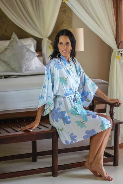 Women's handpainted robe, 'Blue Hibiscus' - Women's Handpainted Floral Robe