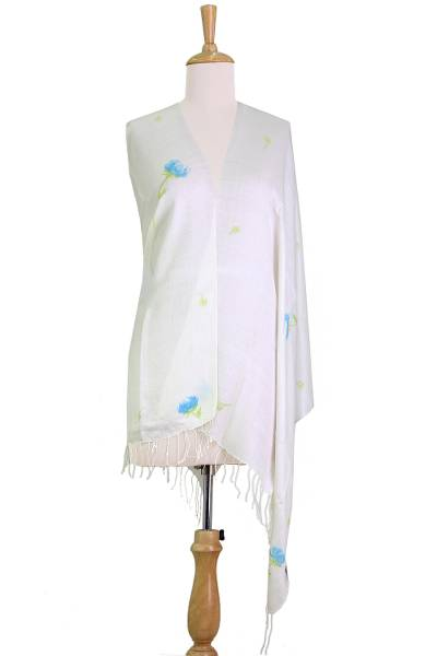 Hand Painted Silk Blend Shawl Primrose Blossom from India