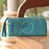 Leather clutch, 'Turquoise Sunflower' - Balinese Floral Leather Clutch in Turquoise with Zipper