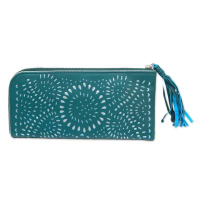 Balinese Floral Leather Clutch in Turquoise with Zipper