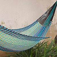 Cotton rope hammock, 'Ultimate Relaxation' (triple) - Hand Woven All Cotton Rope Style Hammock (Triple)