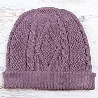 100% alpaca hat, 'Dusty Lilac Braid'