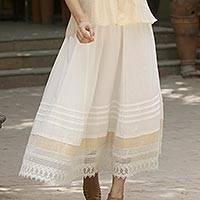 Cotton skirt, 'Glamorous Summer' - Artisan Crafted Cotton Long Skirt from India