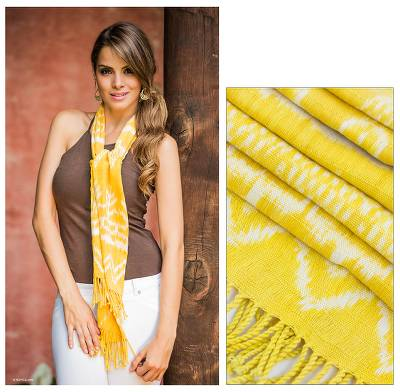 Cotton scarf, 'Bright Yellow Solola' - Handmade Cotton Scarf from Guatemala