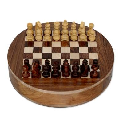 Wood chess set, 'Circle' - Wood Chess Set with Storage Drawers
