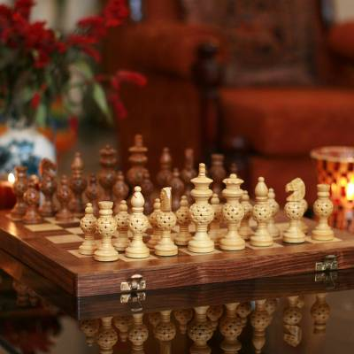 Wood chess set, 'Grandeur' - Folding Wood Chess Set from India