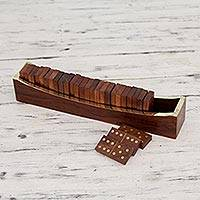 Brass inlay wood dominoes, 'Competition' - Indian Hand Crafted Brass Inlay Wood Domino Set