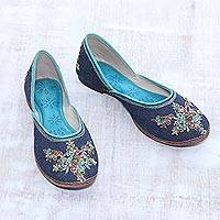 Cotton denim jutti shoes, 'Navy Bliss' - Hand-Embellished Cotton Denim Jutti Shoes from India