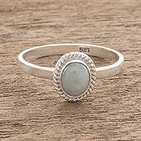 Jade solitaire ring, 'Oval Beauty'