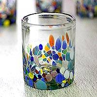 Blown glass juice glasses, 'Confetti Festival' (set of 4) - Hand Blown Glass Colorful Juice Glasses (Set of 4)