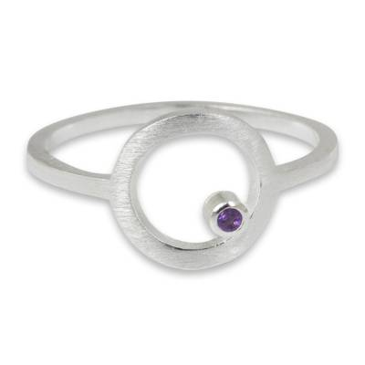 Amethyst cocktail ring, 'Gazing at the Moon' - Amethyst Thailand Handcrafted Sterling Silver Ring