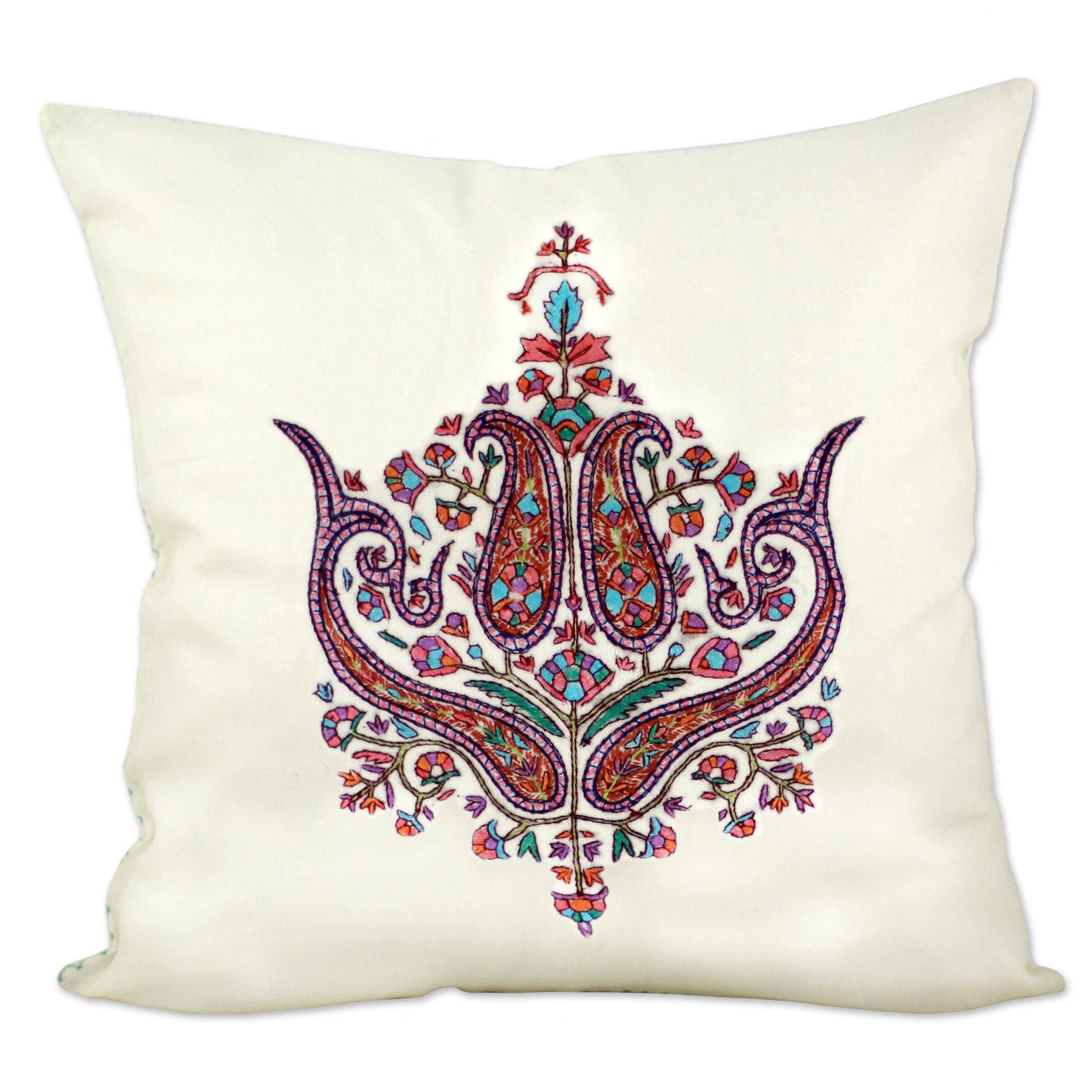 Unicef Market Cushion Cover Handcrafted In India Embroidered With Paisley Paisley Grandeur
