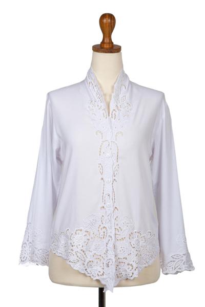 Rayon kebaya blouse, 'Snow White Bidadari' - Embroidered Rayon Kebaya Blouse in Snow White from Bali
