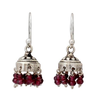 Garnet dangle earrings, 'Traditional Grace' - Jhumki Style Earrings with Sterling Silver and Garnets