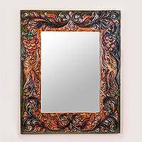 Cedarwood and leather mirror, 'Luminous Rebirth' - Cedarwood and Leather Rectangular Mirror from Peru