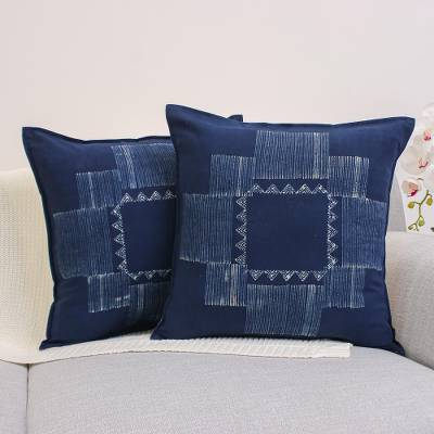 Cotton batik cushion covers, Hill Tribe Constellation (pair)