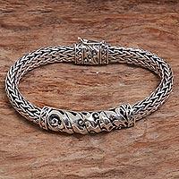 Sterling silver chain bracelet, 'Cresting Waves'