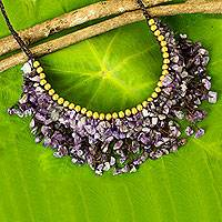 Beaded amethyst necklace, 'Dance Party'