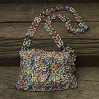 Soda pop-top shoulder bag, 'Joy' - Soda pop-top shoulder bag