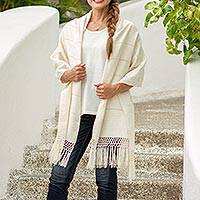 Cotton rebozo shawl, 'Zapotec Whisper' - Handwoven Zapotec Shawl in Natural Unbleached Cotton