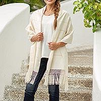 Cotton rebozo shawl, 'Zapotec Whisper'
