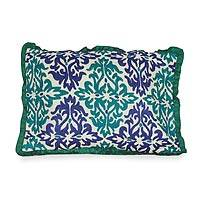 Embroidered cushion cover, 'Cool Flames'