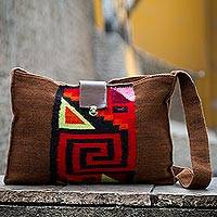 Alpaca blend shoulder bag, 'Inca Enigma'