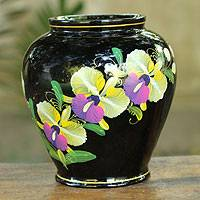 Lacquered decorative wood vase, 'Siamese Orchids' - Thai Lacquered Wood Decorative Vase Hand Painted Siam Orchid