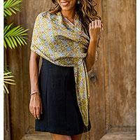 Silk batik shawl, 'Floral Stars' - Handcrafted Batik Silk Patterned Shawl