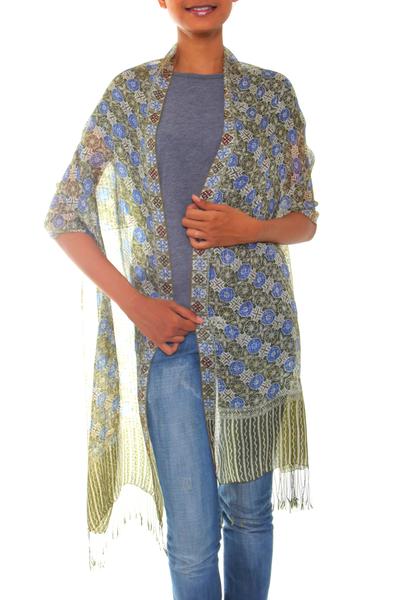 Handcrafted Batik Silk Patterned Shawl