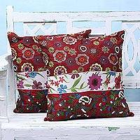 Cushion covers, 'Garden of Love' (pair)