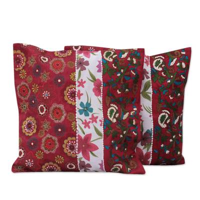 Cushion covers, 'Garden of Love' (pair) - Cushion covers (Pair)