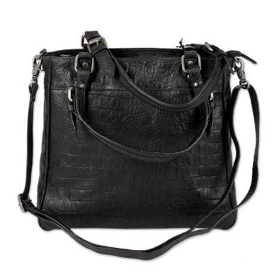 Leather shoulder bag, 'Molasses Rhapsody' - Brown-Black Leather Shoulder Bag with Multiple Pockets