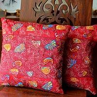 Cushion covers, 'Butterfly Muse' (pair) - Cushion covers (Pair)