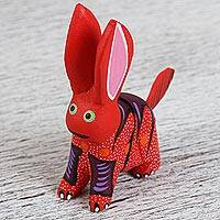 Wood alebrije flash drive, 'Red Rabbit' - Hand-Painted Alebrije Rabbit USB Drive from Mexico