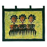 Batik wall hanging, 'Beauty Comb II' - Batik wall hanging