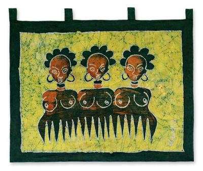 Batik wall hanging, 'Beauty Comb II' - Batik wall hanging