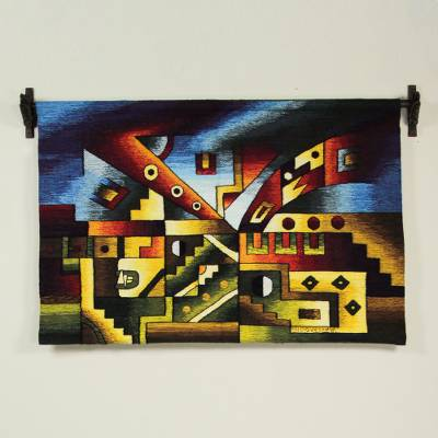 100% alpaca tapestry, 'Felines' - Hand Loomed Abstract Inca 100% Alpaca Tapestry