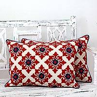 Embroidered cushion covers, 'Romantic Red' (pair)