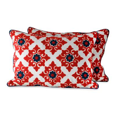 Embroidered cushion covers, 'Romantic Red' (pair) - Red and Blue Embroidered Cushion Covers (pair)
