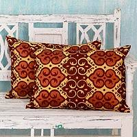 Embroidered cushion covers, 'Mustard Field' (pair)