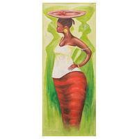 'Last Tomatoes' - Woman in African Market Scene Painting by Ghanaian Artist