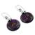 Sterling silver dangle earrings, 'Moon of Enigma' - Purple Turquoise Sphere Earrings India Artisan Jewelry (image 2b) thumbail