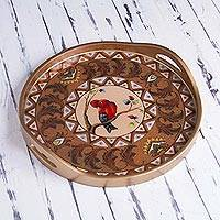 Reverse painted glass tray,