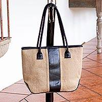 Jute shoulder bag, 'Natural Style' - Eco Chic Jute Shoulder Bag
