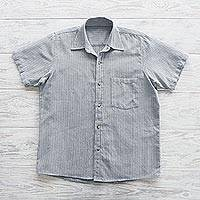 Men's short-sleeved cotton shirt, 'Pacific Ocean'