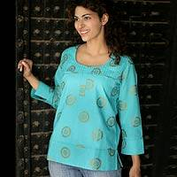 Cotton blouse, 'Turquoise Sun' - India Fair Trade Cotton Blouse