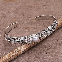 Cultured pearl cuff bracelet, 'Swirling Jepun'