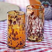 Drinking glasses, 'Tall Tortoise Shell' (set of 4) - 4 Water Glasses Handblown Recycled Glass Drinkware Mexico