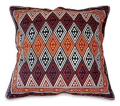 Cotton cushion cover, 'Geometric Design in Warm Earth' (21 inch) - African Geometric Block Print Cushion Cover (21 inch)